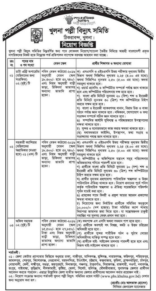 Bangladesh Palli Bidyut Samity Job Circular