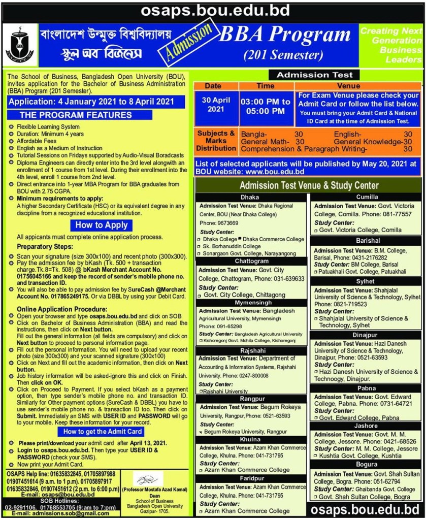BOU BBA Admission Notice 2021