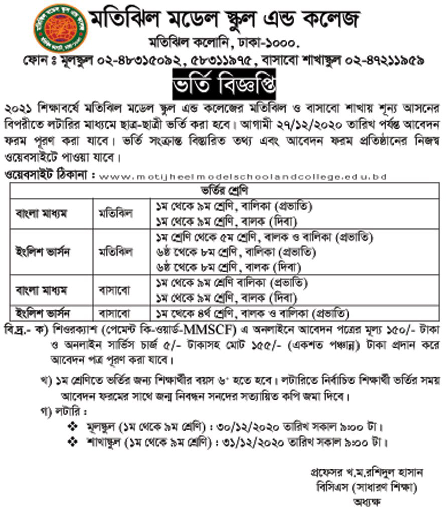 Class 6 and Class 9 Admission Result