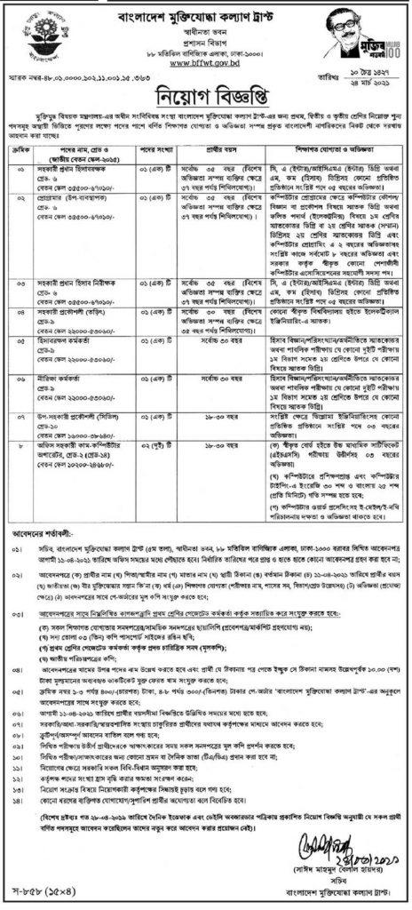 Bangladesh Freedom Fighter Welfare Trust Job Circular