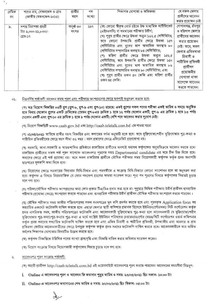 Bangladesh Civil Aviation Authority Job Circular Group 3 - 6