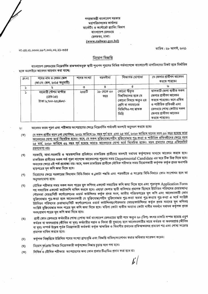 Bangladesh Railway Job Circular 2021.
